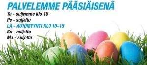 Pääsiäisen poikkeavat aukioloaikamme. Hyvää pääsiäistä kaikille asiakkaillemme!