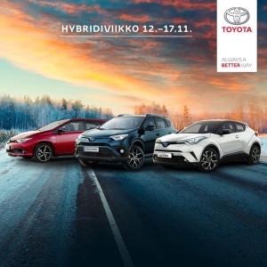 Tällä viikolla vietetään Toyotan Hybridiviikkoa! Nyt erään malleja metalliväri 0€ sekä Winter Pack 490€. Lue lisää: https://toyota.nelipyora.fi/yritys/ajankohtaista/toyota-hybridiviikko.html